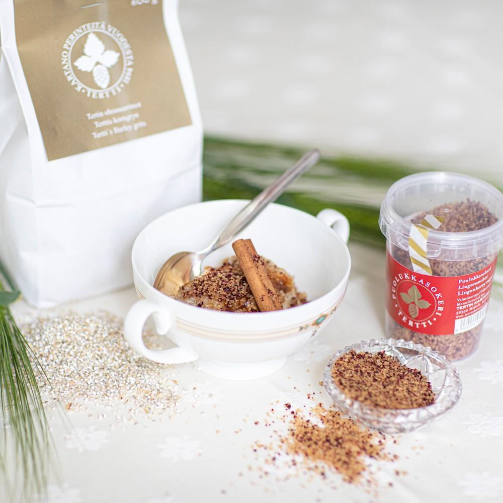 puolukkasokeri ohrapuuro lingonberry sugar barley grits